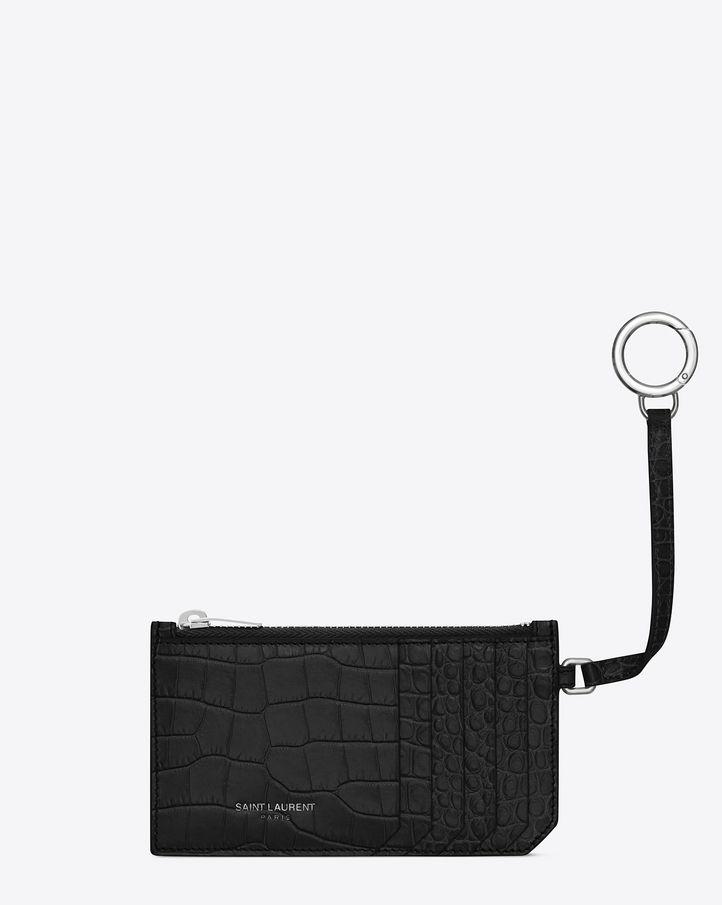 26b0d6e92b5 Saint Laurent Paris Classic Saint Laurent 5 Fragments Zip Pouch with Key  Ring in Black Crocodile Embossed Shiny Leather