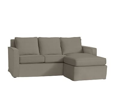 Cameron Square Arm Sofa With Chaise Sectional Slipcover, Linen Blend  Gunmetal Gray