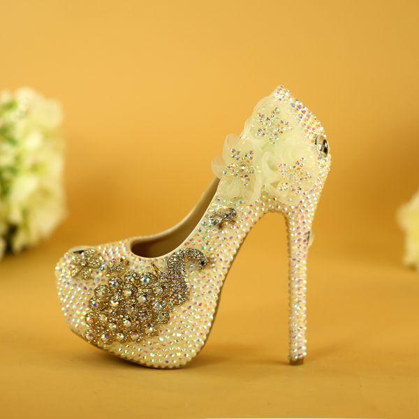 7fb043d1b35 Charming Ivory Wedding Shoes 2019 Appliques Rhinestone Crystal 14 cm ...