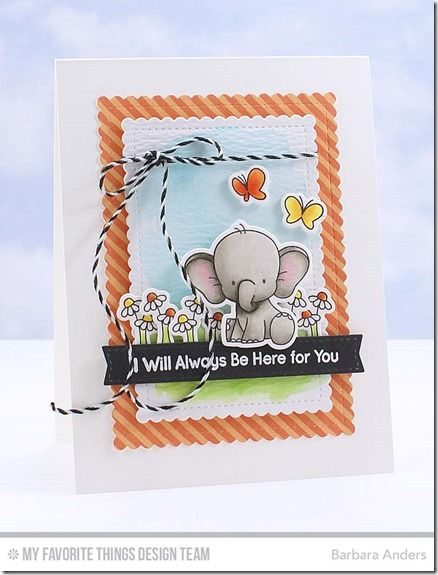 Adorable Elephants, Adorable Elephants Die-namics, Blueprints 2 Die-namics, Stitched Mini Scallop Rectangle STAX Die-namics - Barbara Anders  #mftstamps