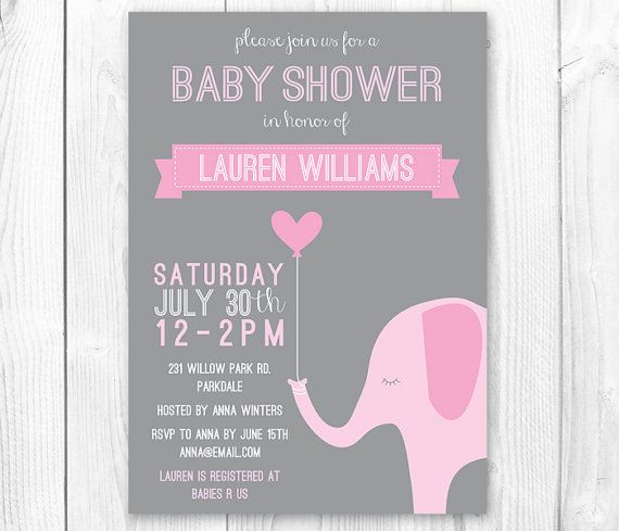 Elephant Baby Shower Invitation - Pink & Gray Girl Elephant Shower ...