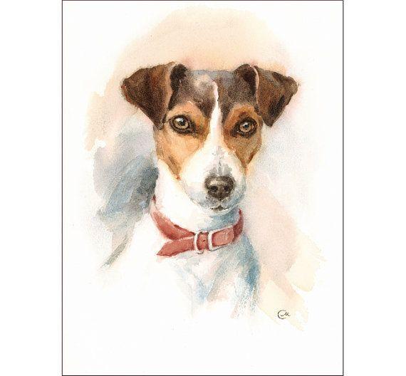 Watercolor Jack Russell Terrier Original Painting 9x12