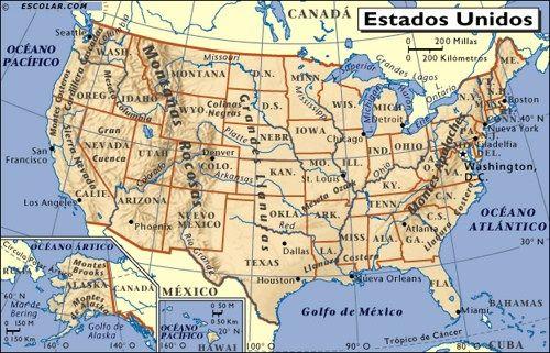 Resultado de imagen de mapa de estados unidos  MAPAS  MAPS