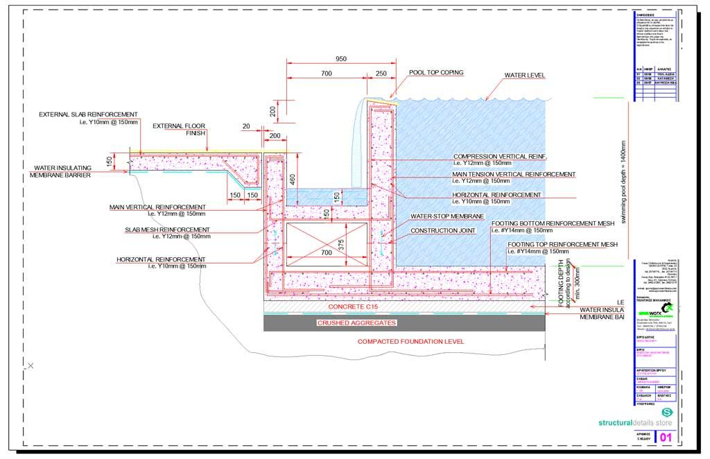 Infinity Type Swimming Pool Retaining Wall With Catch Pool Detail In 2020 Swimming Pool Construction Pool Construction Concrete Swimming Pool