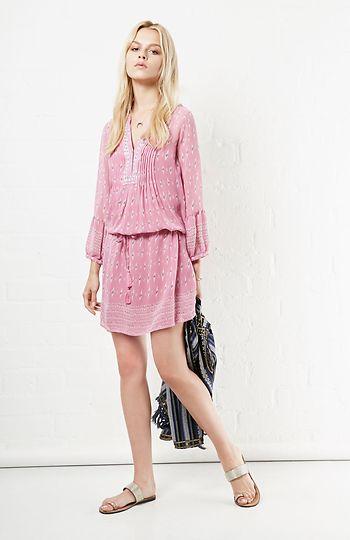 Joie Silk Suerte Dress in Pink XS - L | DAILYLOOK