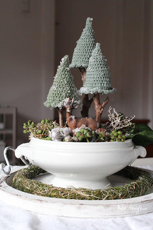 seidenfeins Blog vom schönen Landleben: 1 ✴ Häkeltannen für ein Winterwunderland * Crocheted firs for your winter wonderland #crochetdiy