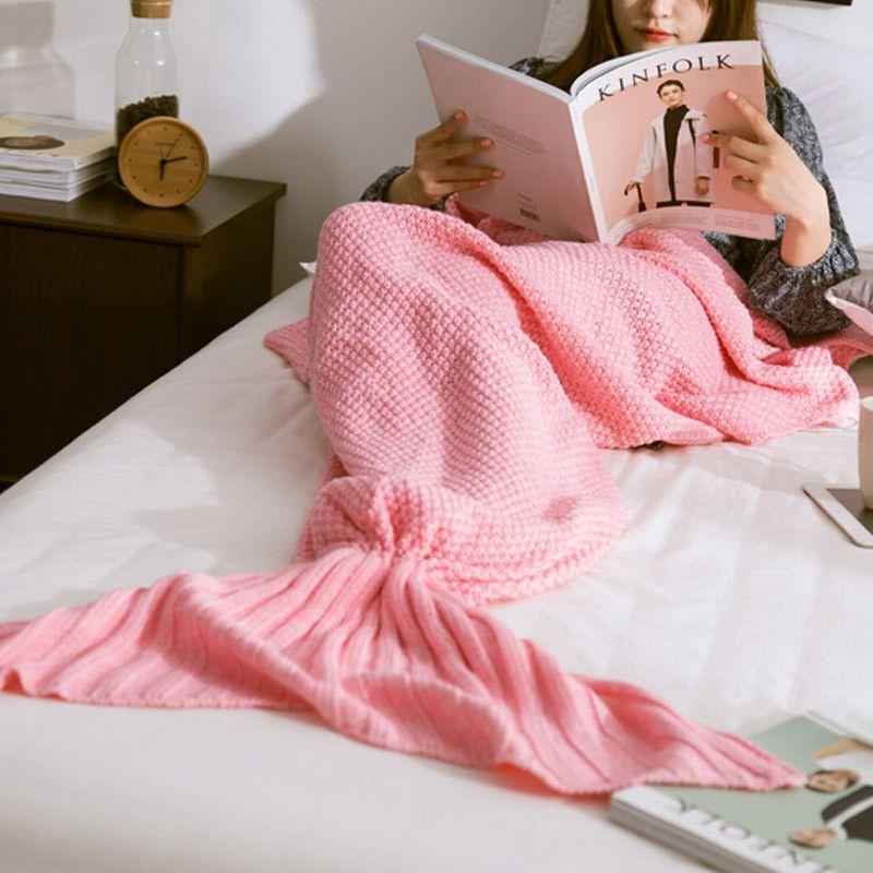 Mermaid Tail Knitted Blanket, Pure Wool, Handmade