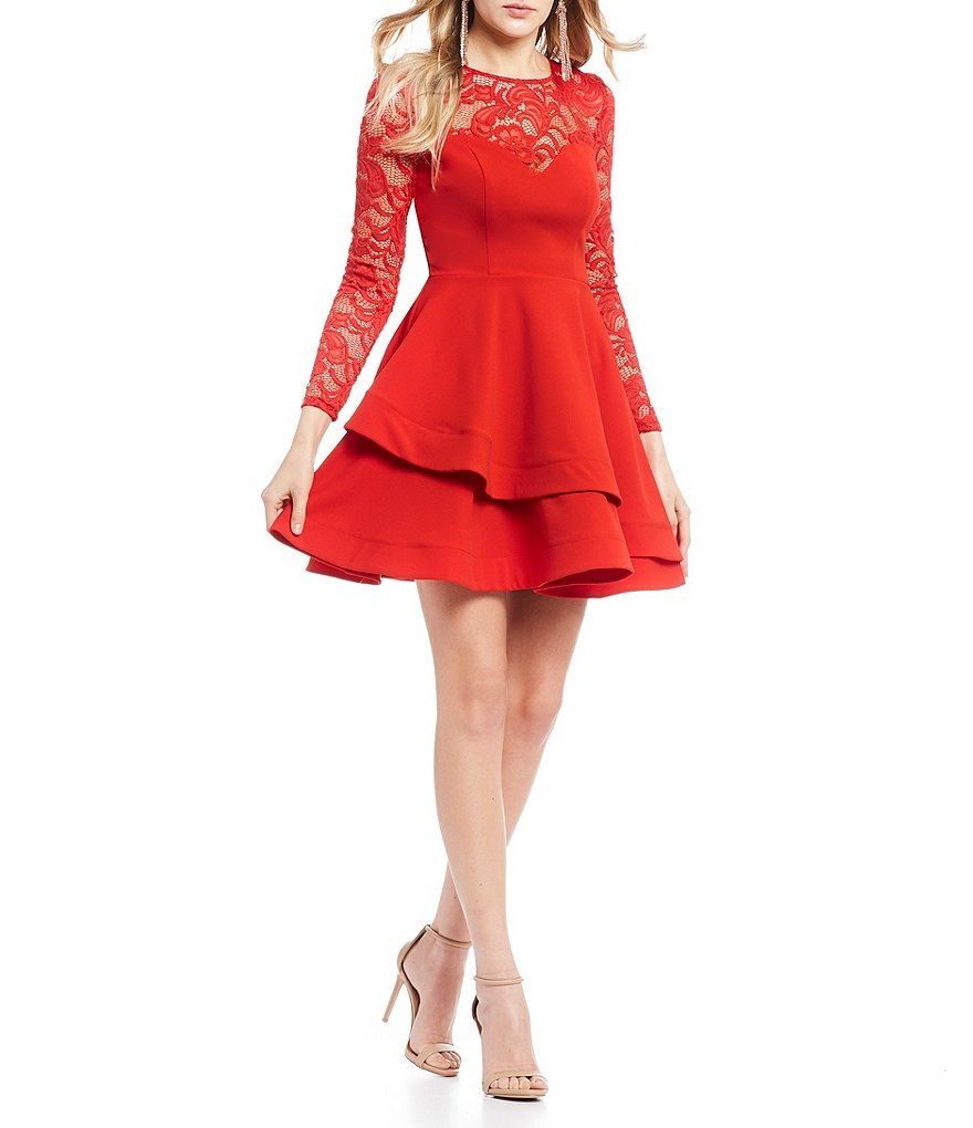 f5398bb61d5 B. Darlin Long Sleeve Lace Double Hem Fit-and-Flare Dress in 2019 ...