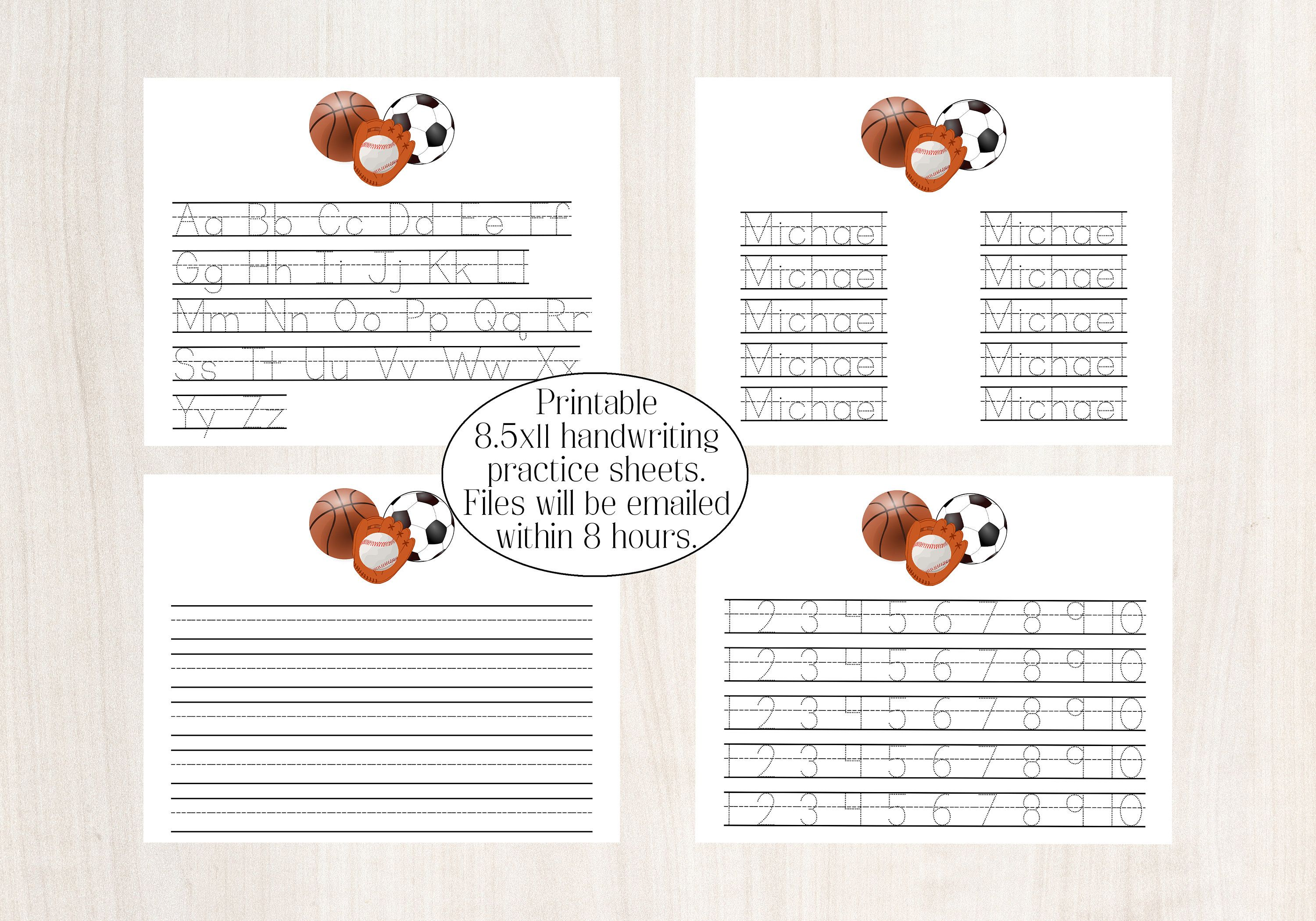 Handwriting Practice Writing Printable Personalized