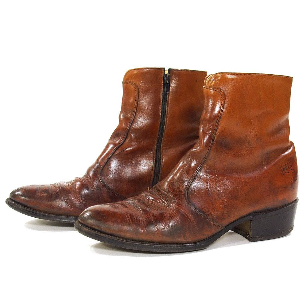 fdb6b2505fe 70s Levi's Ankle Boots / Vintage Brown Leather Beatle Boots ...