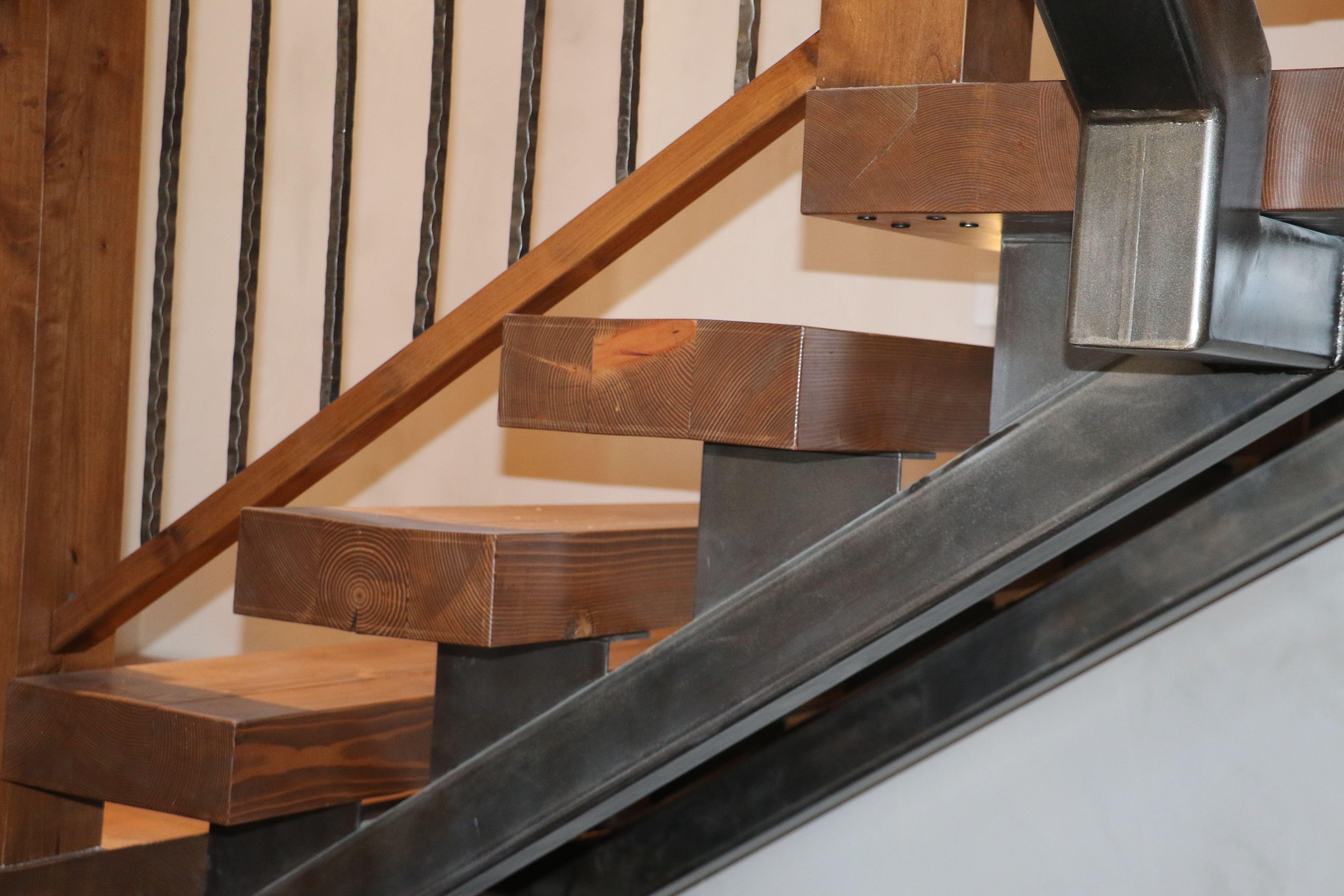Metal Stringer Under Douglas Fir Treads For Stairs