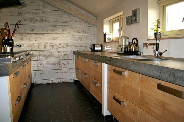 Houten Keuken Beton : Eiken houten keuken met betonnen blad koak design ikea