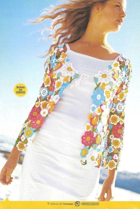 GILET FLEURI | crochet ideas | Pinterest | Patrones, Ganchillo y Chal