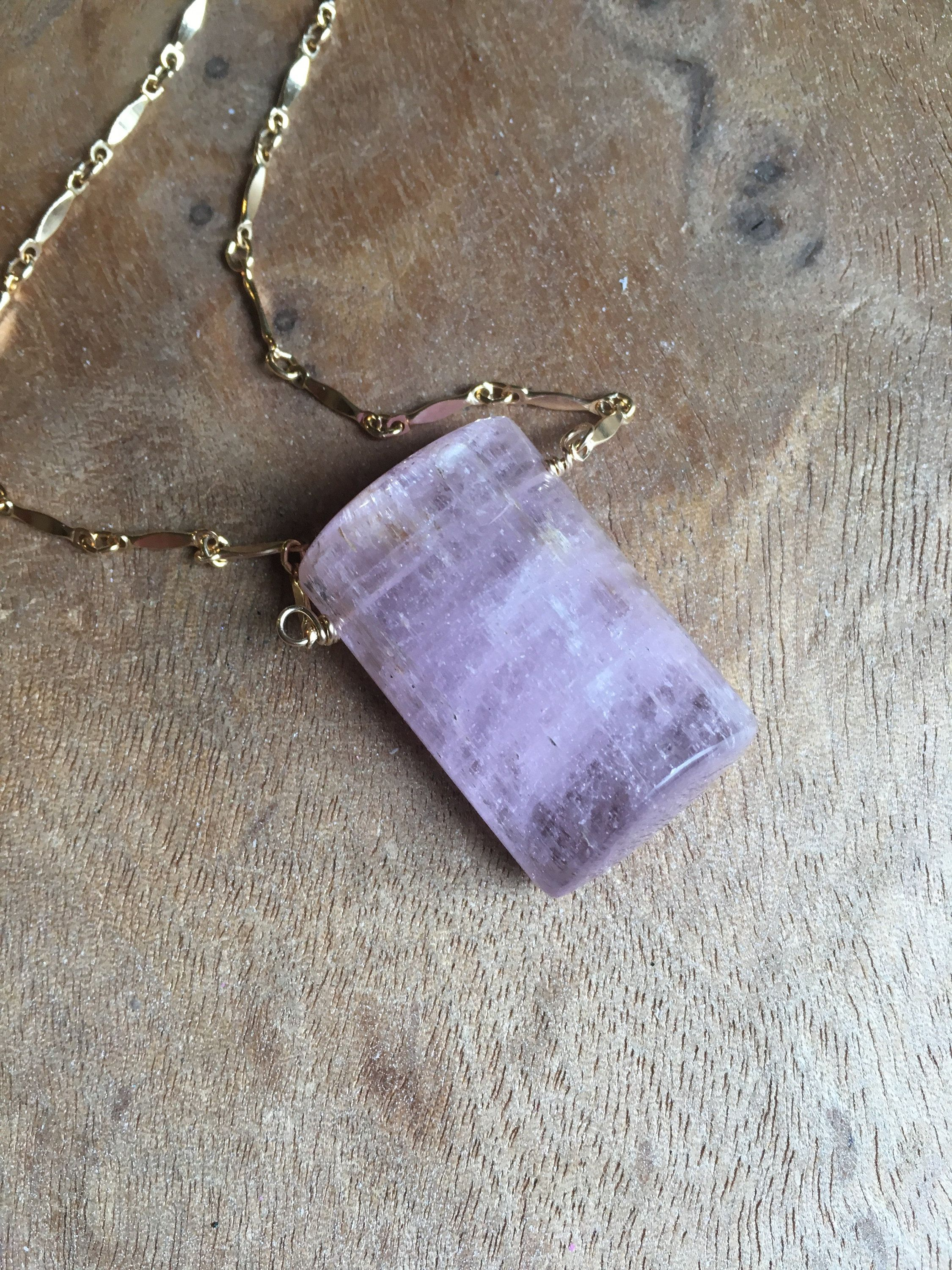 Photo of Large Kunzite Crystal Necklace – Large Stone Necklace – Kunzite Jewelry