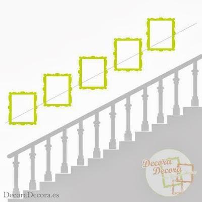 Cómo colgar cuadros en una escalera.   Home refurbish   Pinterest