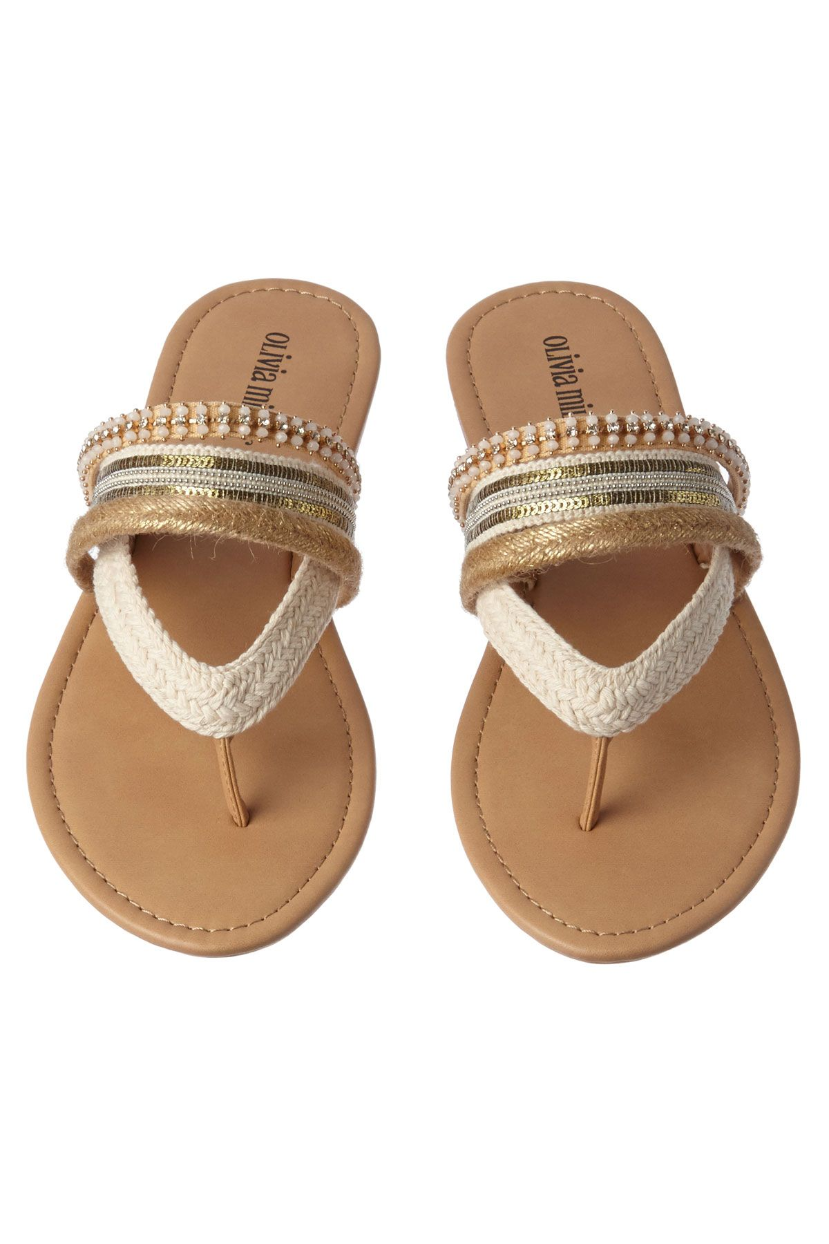 f1652fcbdbf25 Embellished thong sandals with metallic sequins