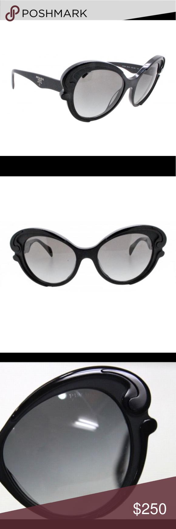 3b832701f1f AUTHENTIC. -Prada Black Signature Plastic Cat Eye Matte Glossy Spr 28n 56  19 Sunglasses. -6