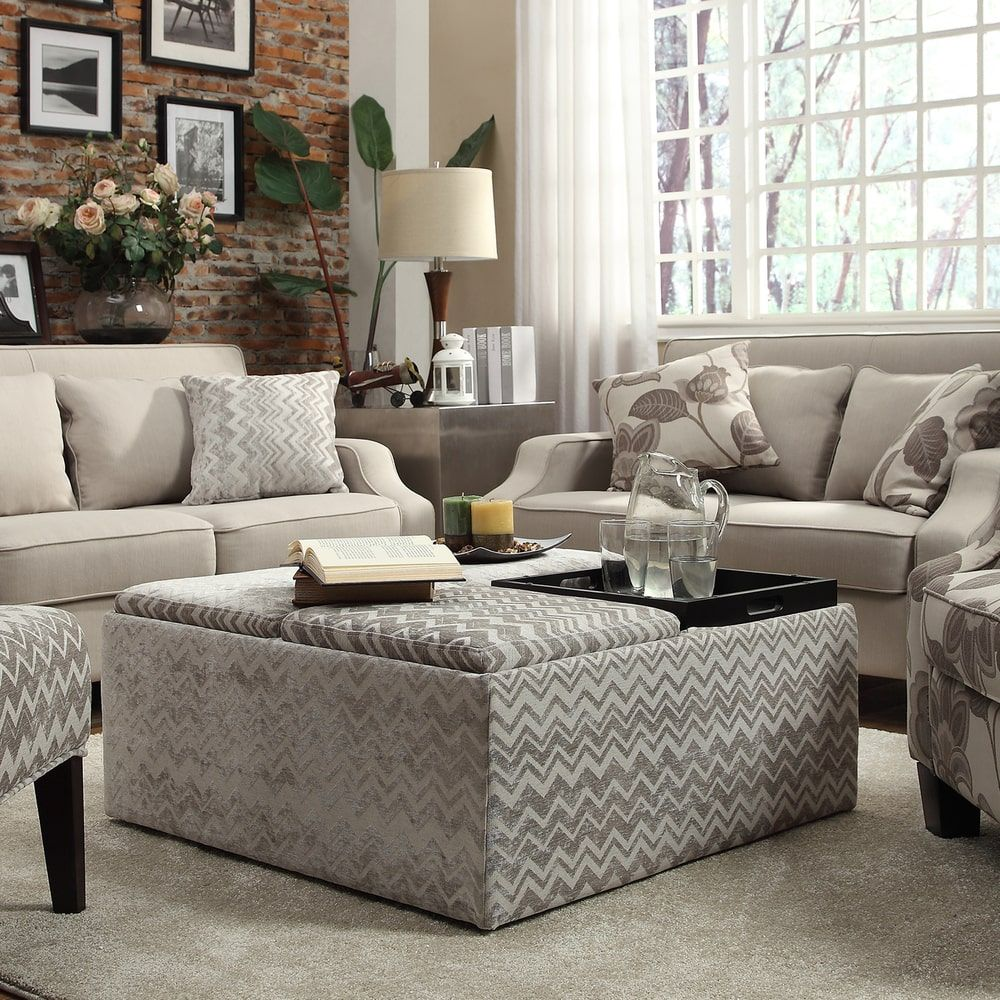 Storage Ottoman With Tray Cocktail Living Room Coffee Furniture Grey Chevron