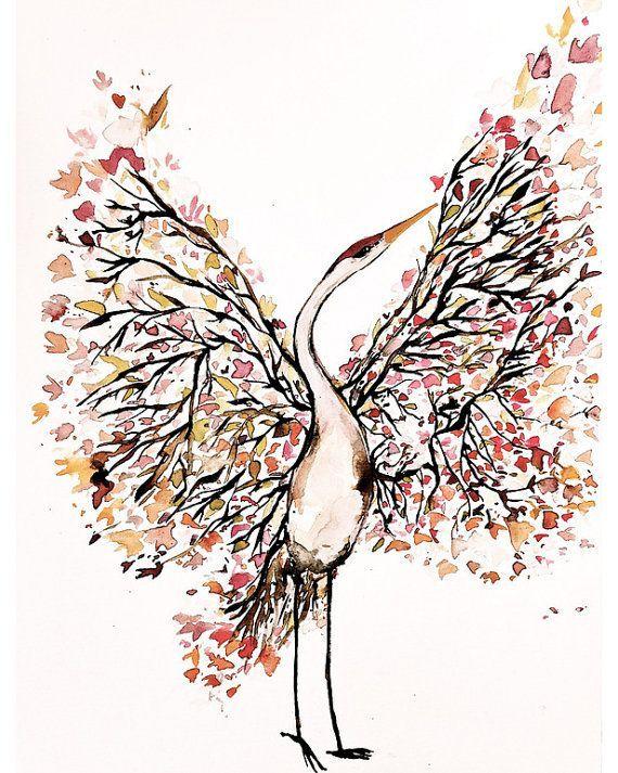 Mōhala Tsuru Bird watercolor paintings, Crane tattoo