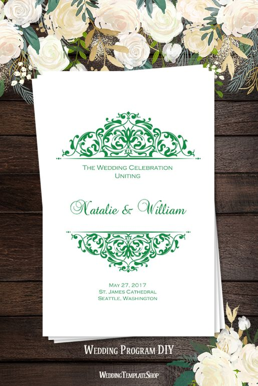 Wedding Program Template Grace Emerald Green Program template - how to design wedding program template