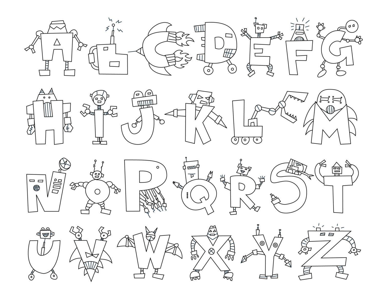 Alphabet Robots Coloring Sheet Digital Download Coloring Sheets Alphabet Lettering