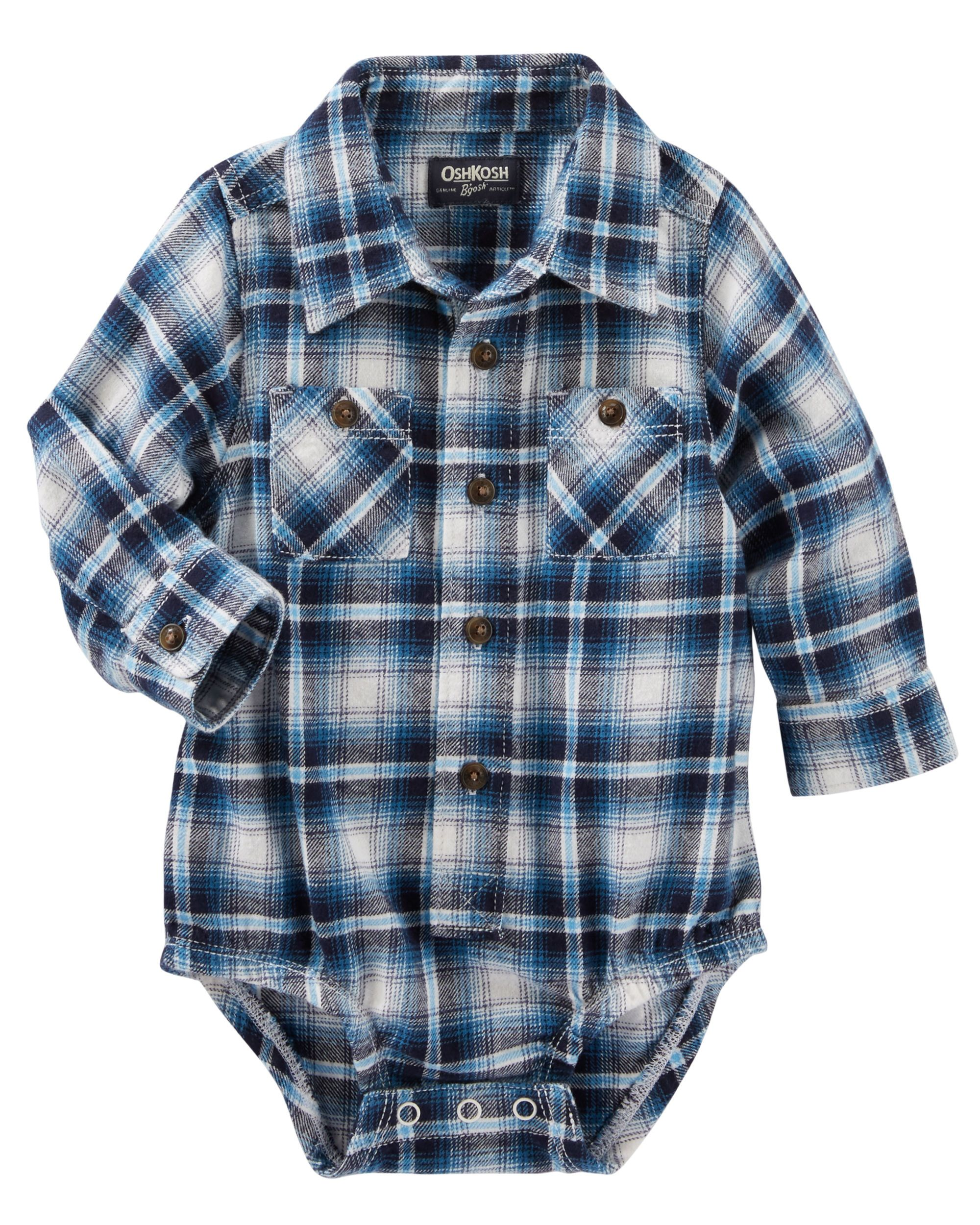 Blue flannel outfits for guys  Baby Boy Pocket Plaid ButtonFront Bodysuit  OshKosh  Future