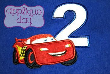 Cars 2  Two Year Old Birthday Digital Applique Design Instant Download