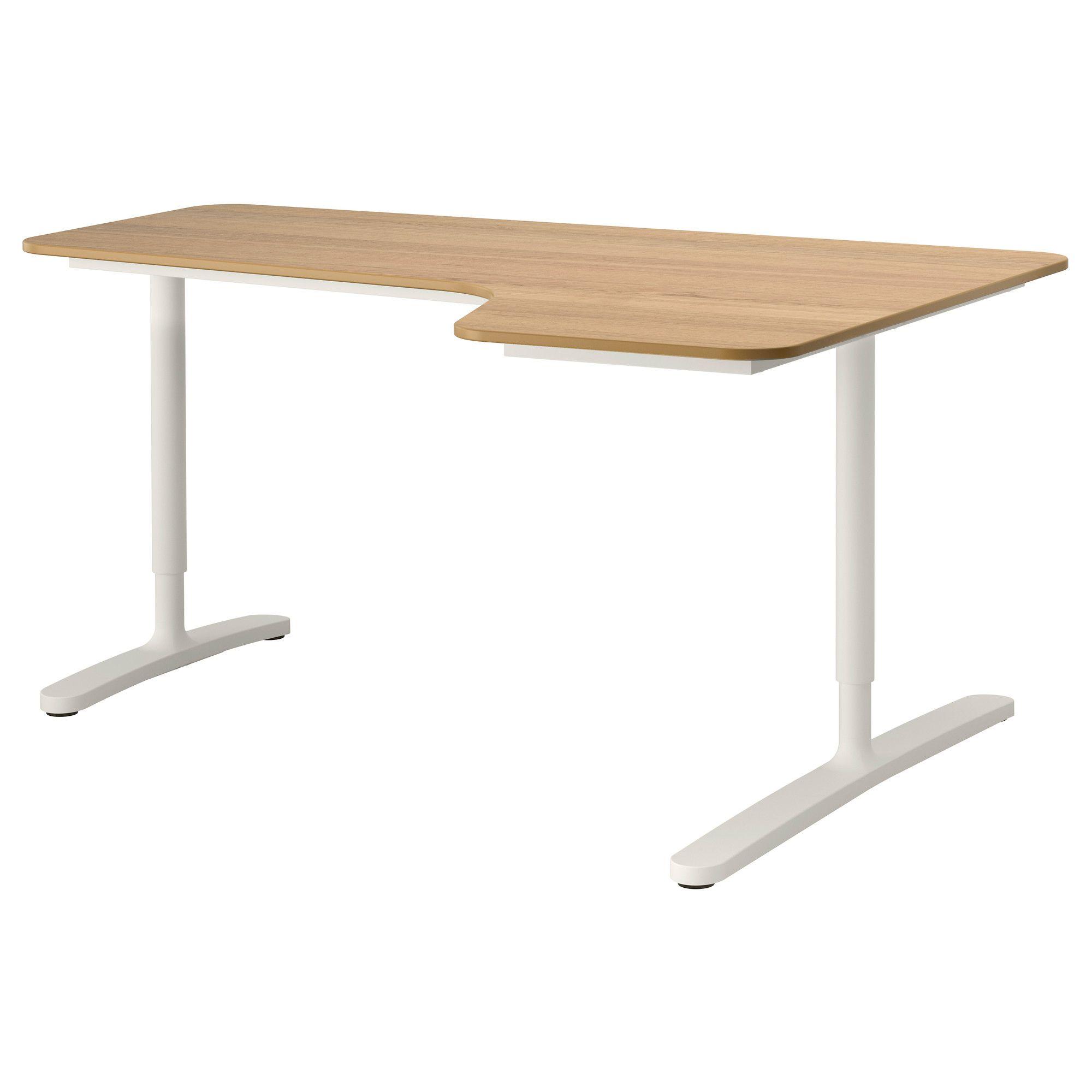 Bekant Oak Veneer White Corner Desk Right 160x110 Cm Ikea Ikea Ikea Office Table Office Table