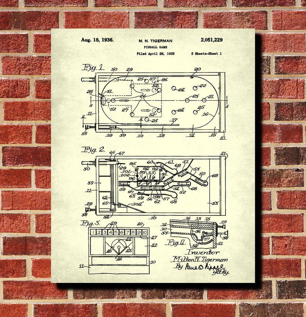 Pinball machine patent print bar blueprint man cave poster one of a art prints malvernweather Image collections
