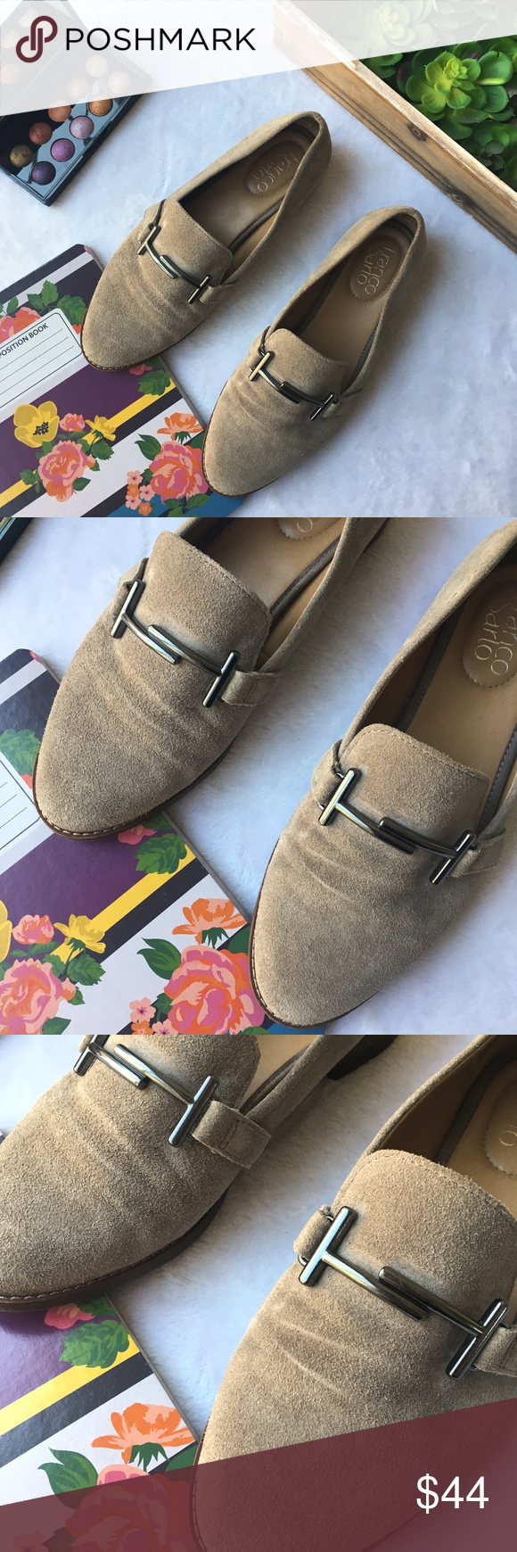 0dc6ad3c1f3 Franco Sarto Harlow tan suede horse bit loafer Franco Sarto Harlow tan  suede horse bit loafer