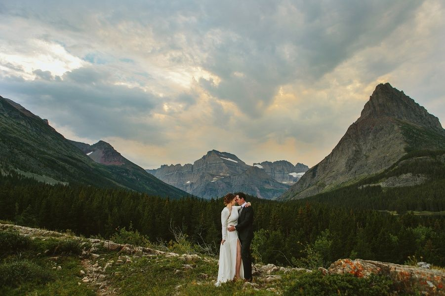Glacier National Park Mt Many Wedding Photo Bride In Custom Made Dress With