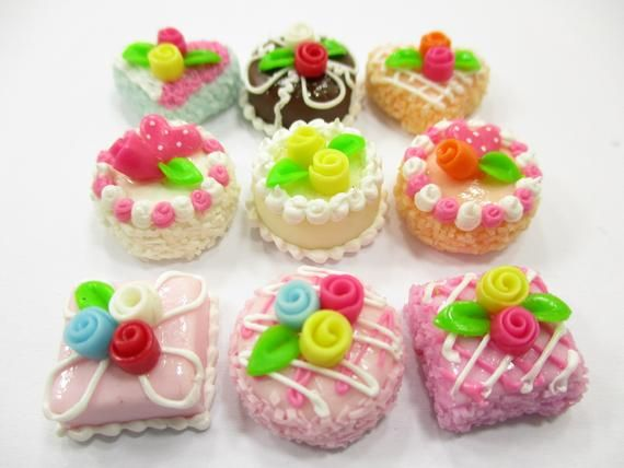 2 Mini Rose Cakes Dollhouse Miniatures Food Bakery Deco Sweet-9