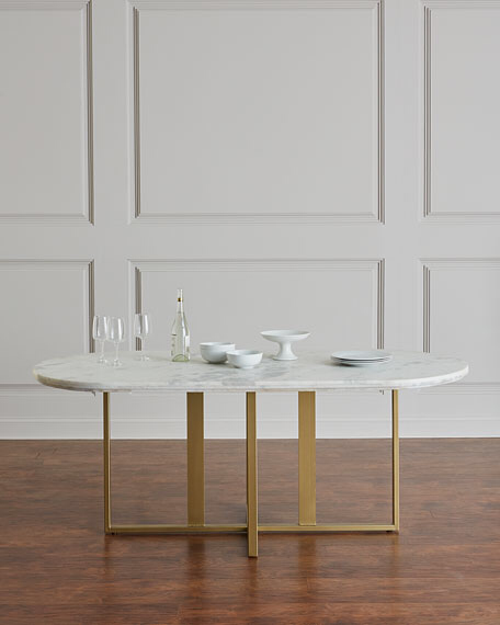 Dylia Marble And Brass Oval Dining Table Oval Table Dining Dining Table Marble Oval Marble Dining Tables
