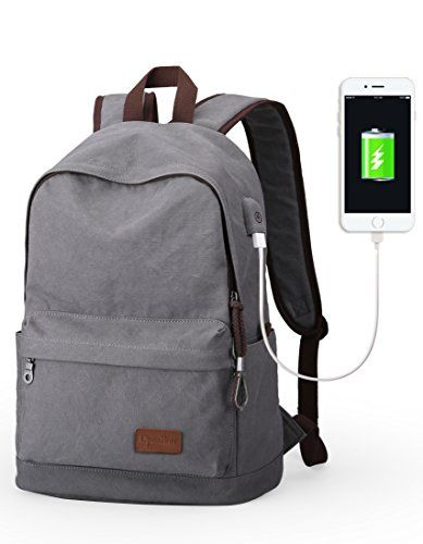 Upoalker Canvas Backpack for School Travel Daypack Fits up to 15.6 inch Laptop (Gray(USB port)). For product info go to:  https://all4hiking.com/products/upoalker-canvas-backpack-for-school-travel-daypack-fits-up-to-15-6-inch-laptop-grayusb-port/