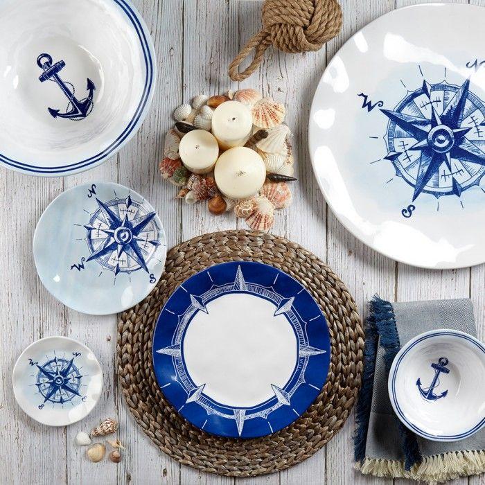 Portsmouth Melamine Dinnerware Great Nautical Designs That Work Beautifully Together The Qua Melamine Dinnerware Melamine Dinnerware Sets Outdoor Dinnerware