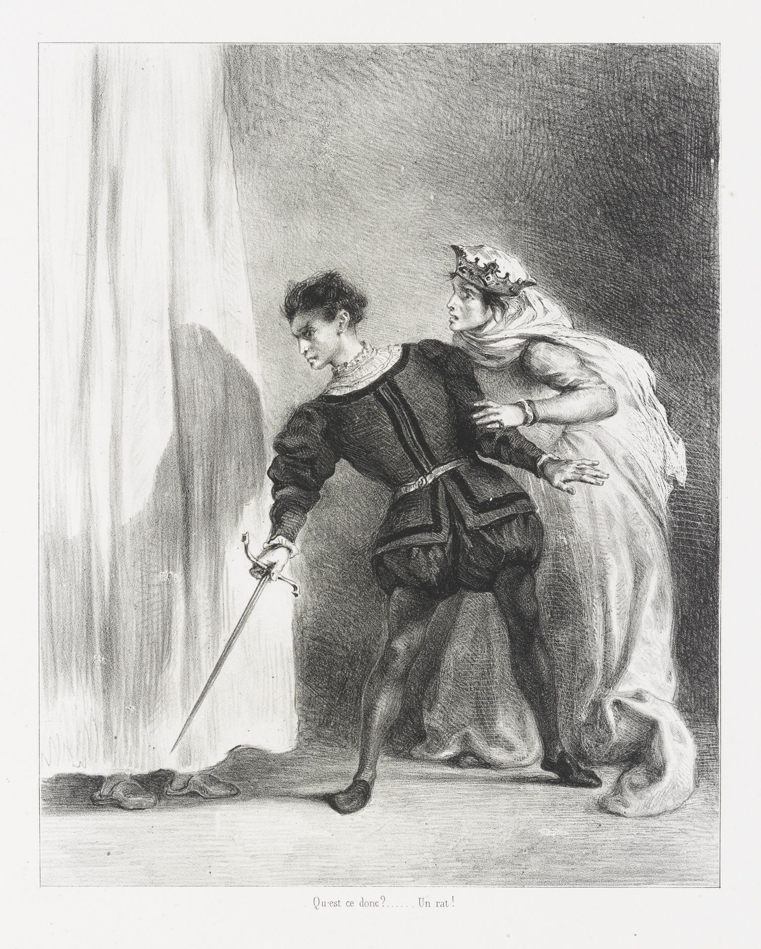 Eugène Delacroix, French, 1798–1863 Le meurtre de Polonius (Act. III. Sc. IV) (The Murder of Polonius), from Shakespeare's Hamlet  1834–43 Lithograph image: 23.9 x 19.2 cm (9 7/16 x 7 9/16 in.); sheet: 54.2 x 35.5 cm (21 5/16 x 14 in.); stone: 23.9 x 19.2 cm (9 7/16 x 7 9/16 in.) The Arthur Ross Collection 2012.159.56.8
