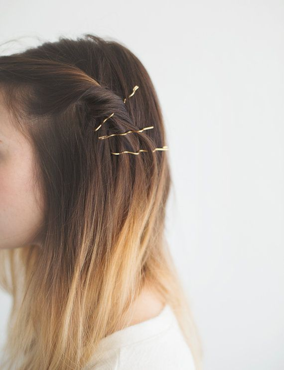 Golden Hair Pins. Oversized Hair Pins. Bobbie by MissCAlexandria