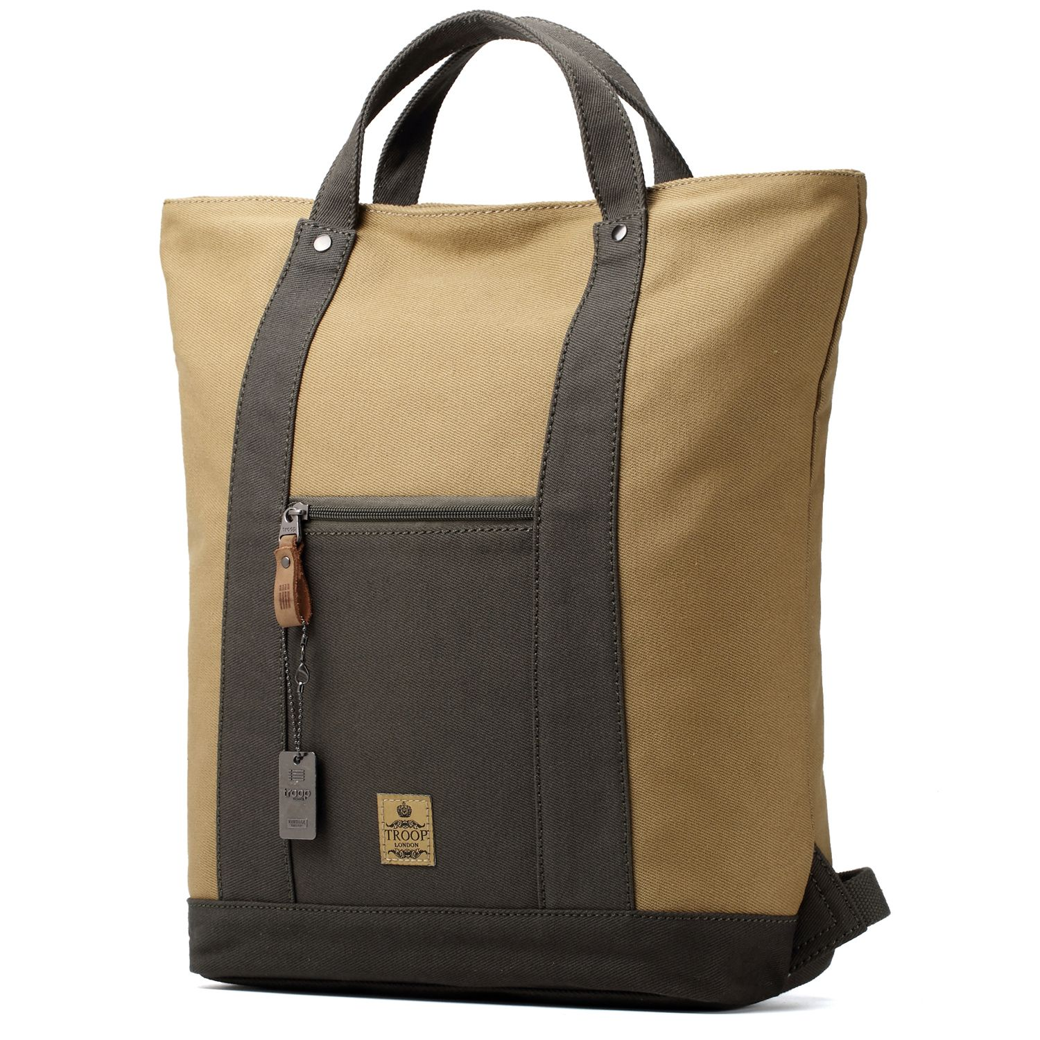 dfa6fd8669 Troop London TRP0420 Twill Cotton Canvas Tote Backpack Green Camel ...