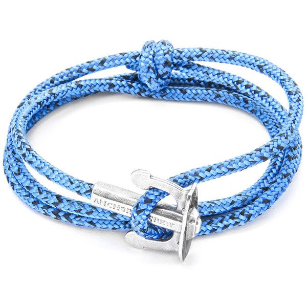 Blue Noir Union Rope and Silver Bracelet by Anchor and Crew ($71) ❤ liked on Polyvore featuring jewelry, bracelets, blue, hand crafted jewelry, blue bangles, blue jewelry, silver nautical jewelry and rope jewelry