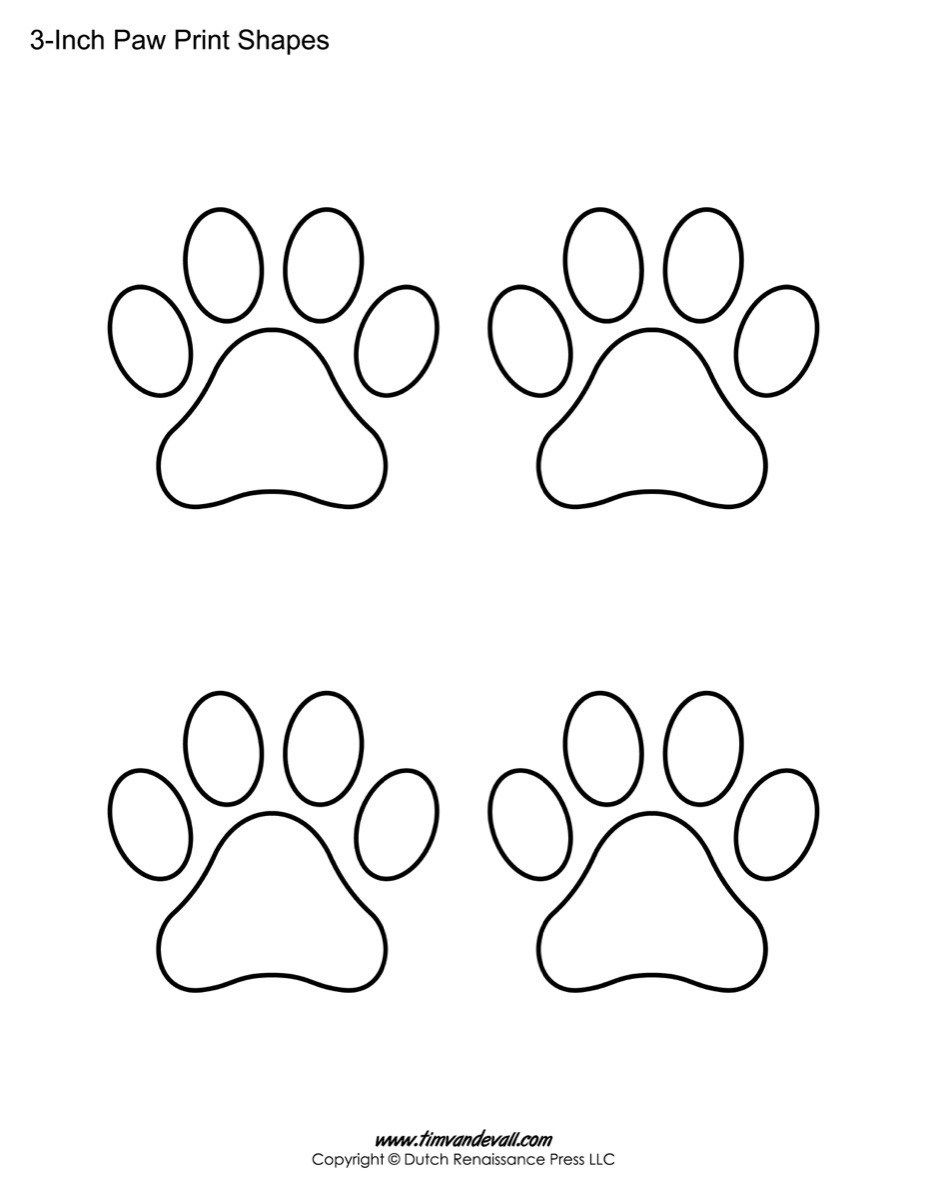 Paw Print Template Shapes | Blank Printable Shapes | Art