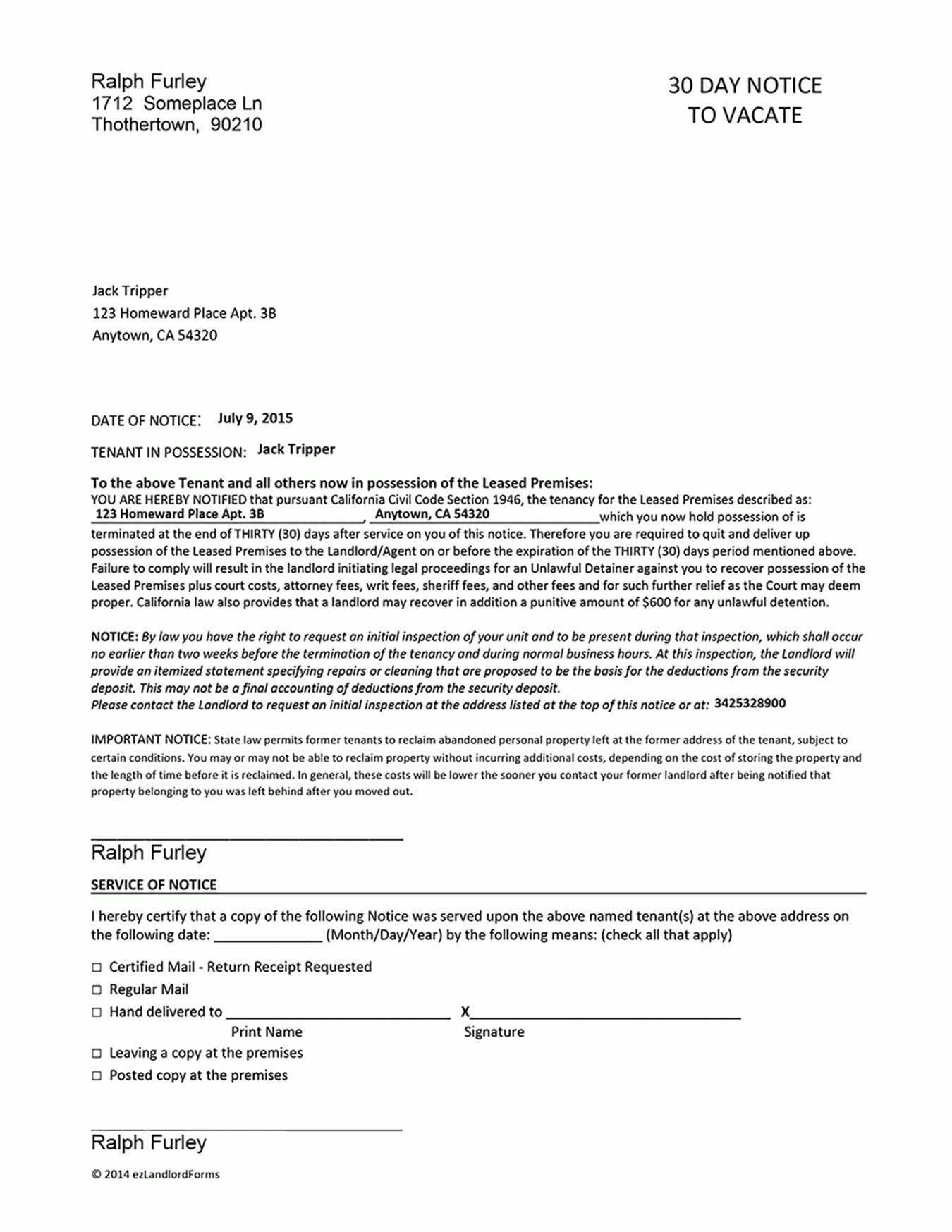 Browse Our Sample of 30 Day Notice To Vacate Template
