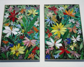 MOSAIC WALL ART 2 Piece Floral Mosaic Stained Glass Wall Decor Indoor  Outdoor Patio Art Wall Hanging Made To Order
