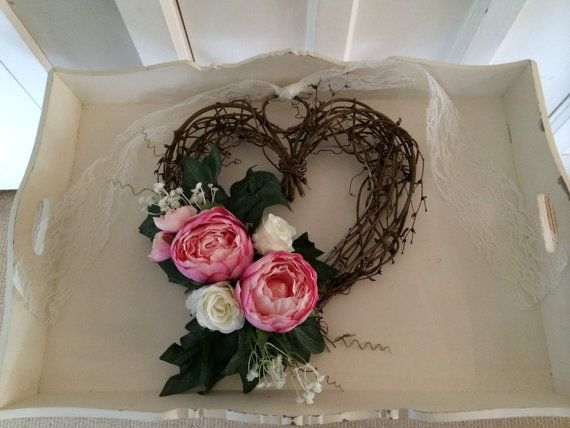 Church pew ends wicker heartsabby chic country garden chair church pew endsabby chic country garden chair ends wedding decor vintage pink peonies and ivory roses with gypsophila junglespirit Images