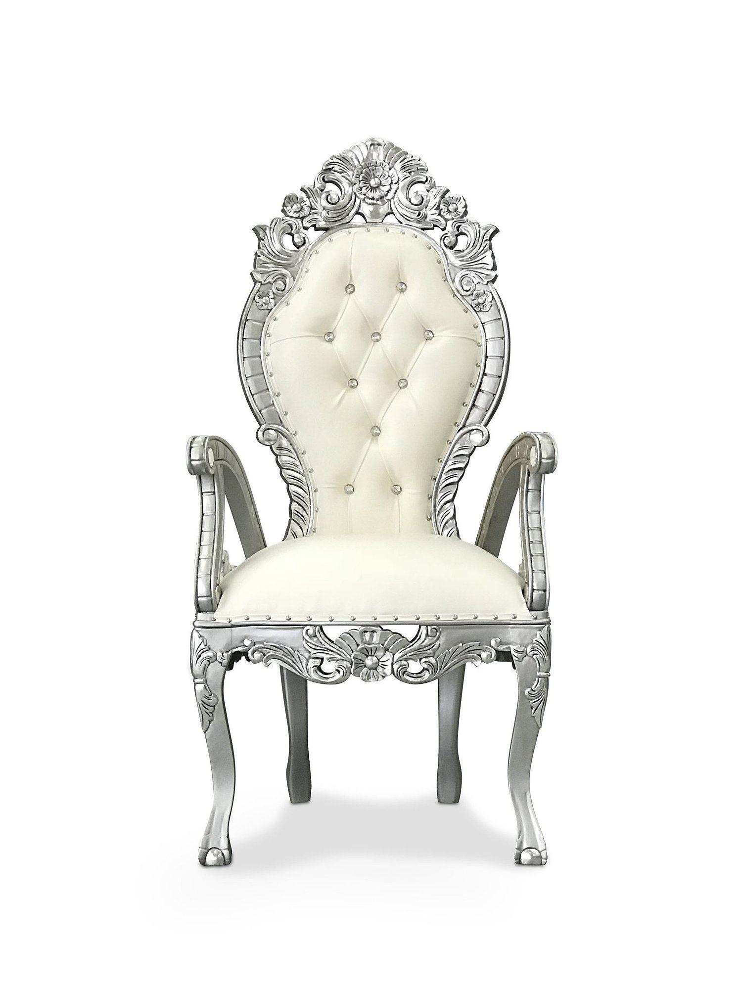 metallic silver accent chair
