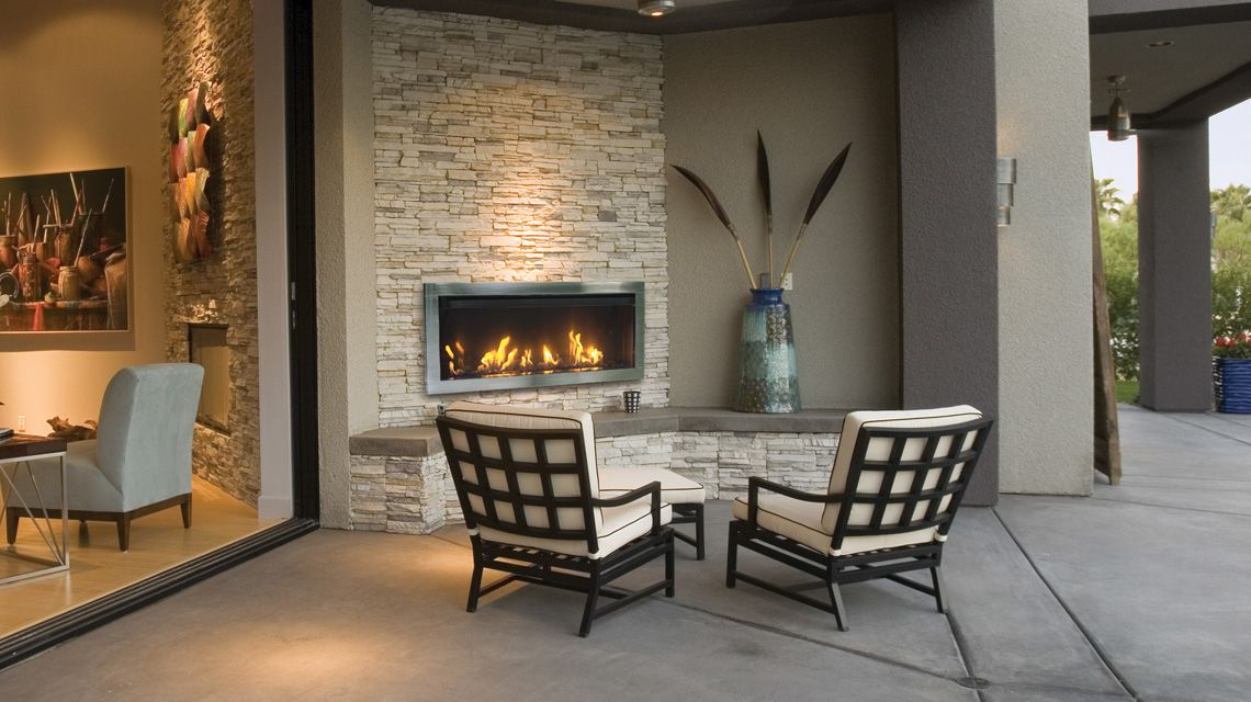 Outdoor Direct Vent Linear Electric Fireplace Modern Outdoor