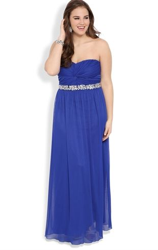 Deb Shops Plus Size Strapless Baby Doll Long Prom Dress With