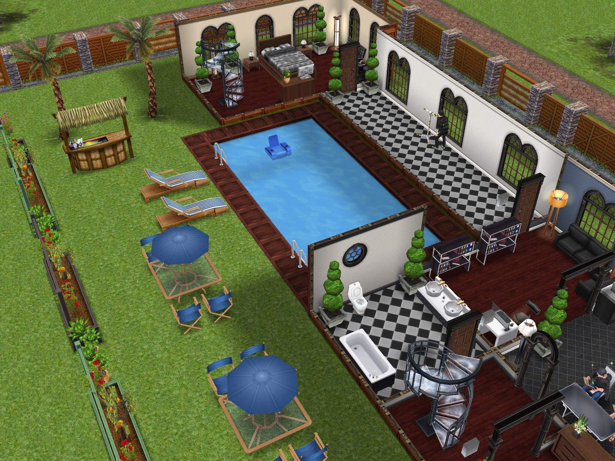 backyard/pool design idea   sims freeplay house design ideas