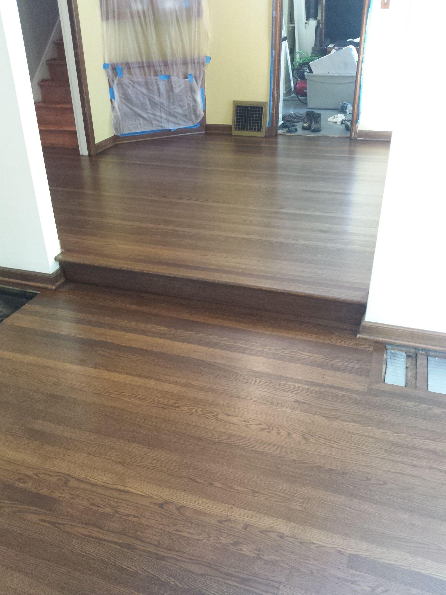 Stained Floor Duraseal Med Brown Portland Oregon Red Oak Wood