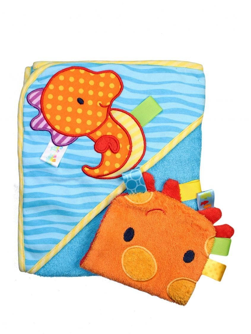 Taggies Sea Horse Baby Hooded Towel and Wash Mitt Set by Taggies - Blue - Not Applicable