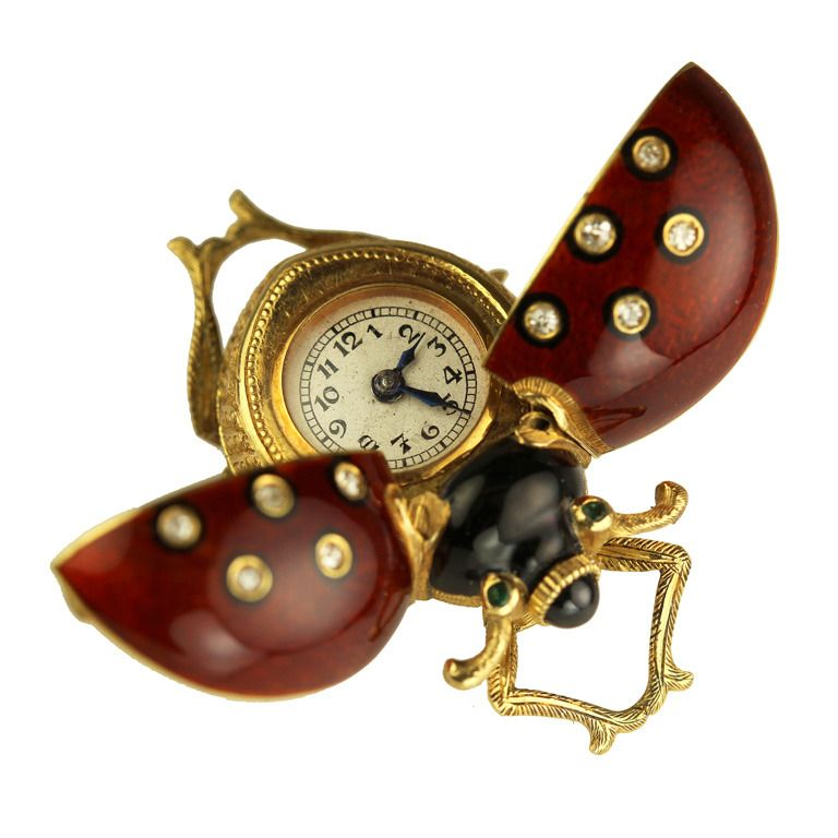 Gold and Guilloche Enamel Lady Bug Brooch Watch circa 1800s | From a unique collection of vintage pocket watches at http://www.1stdibs.com/jewelry/watches/pocket-watches/
